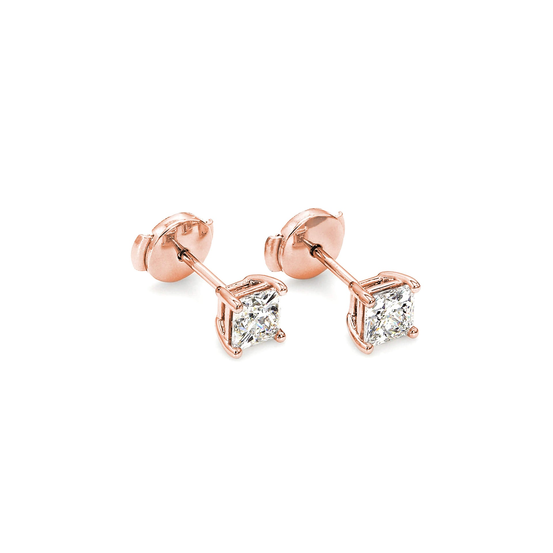 My Girl Classic Solitaire Diamond Stud Earrings in 18K Rose Gold 3D View