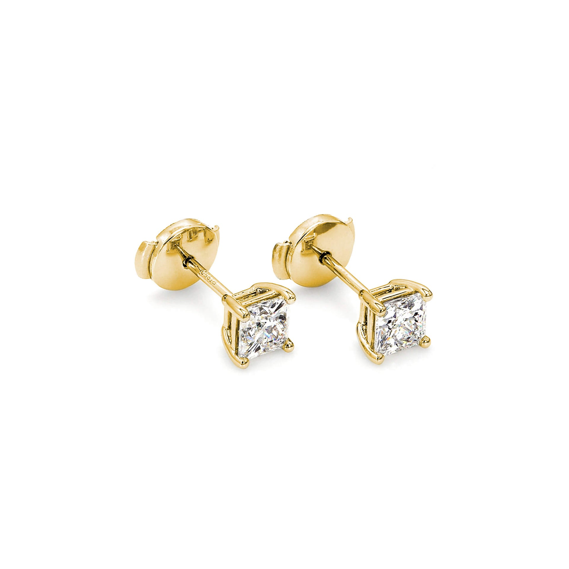 My Girl Classic Solitaire Diamond Stud Earrings in 18K Yellow Gold 3D View