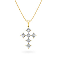 My Girl Diagonal Diamond Cross Pendant in 18K Yellow Gold  Front Vrew