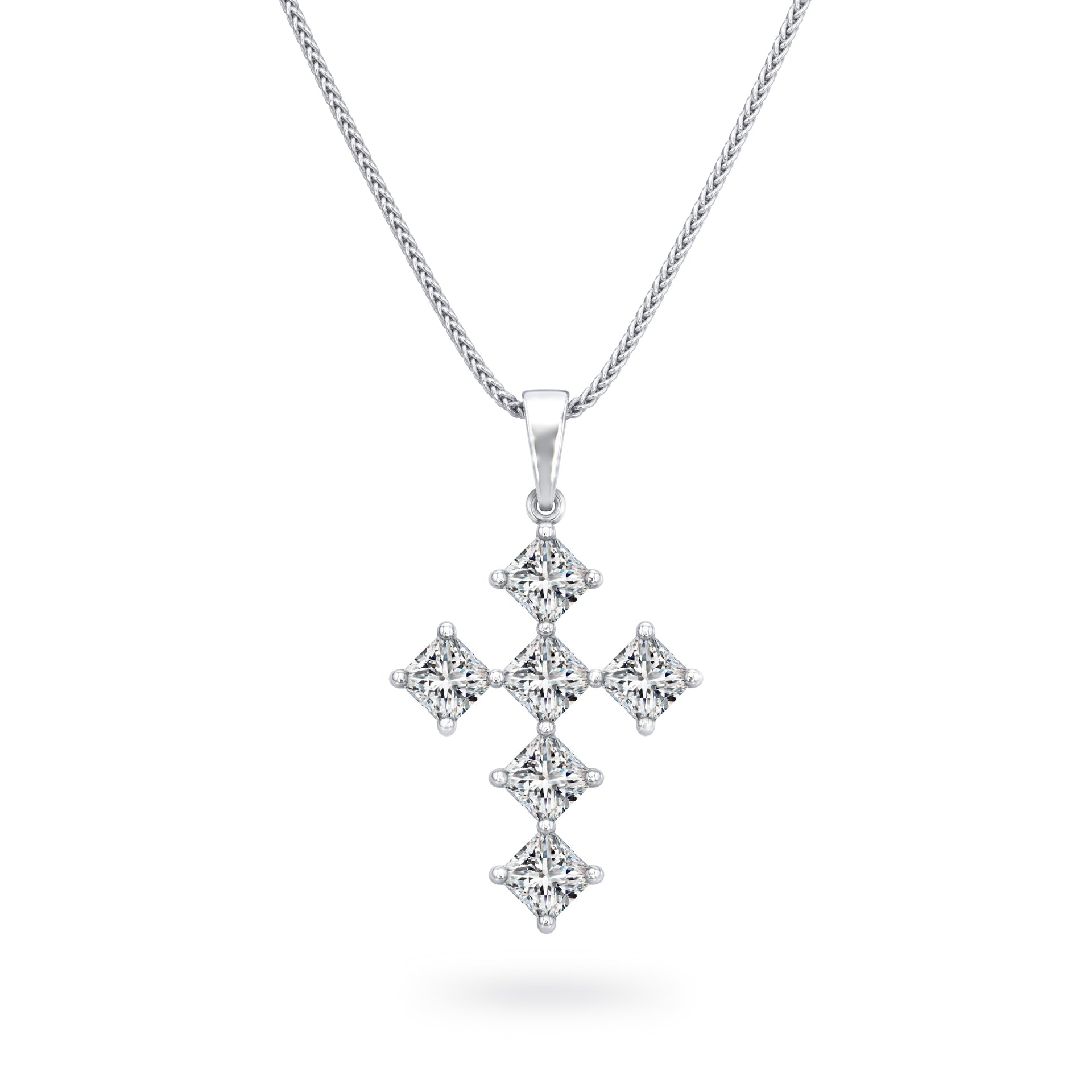 My Girl Diagonal Diamond Cross Pendant in Platinum Front View