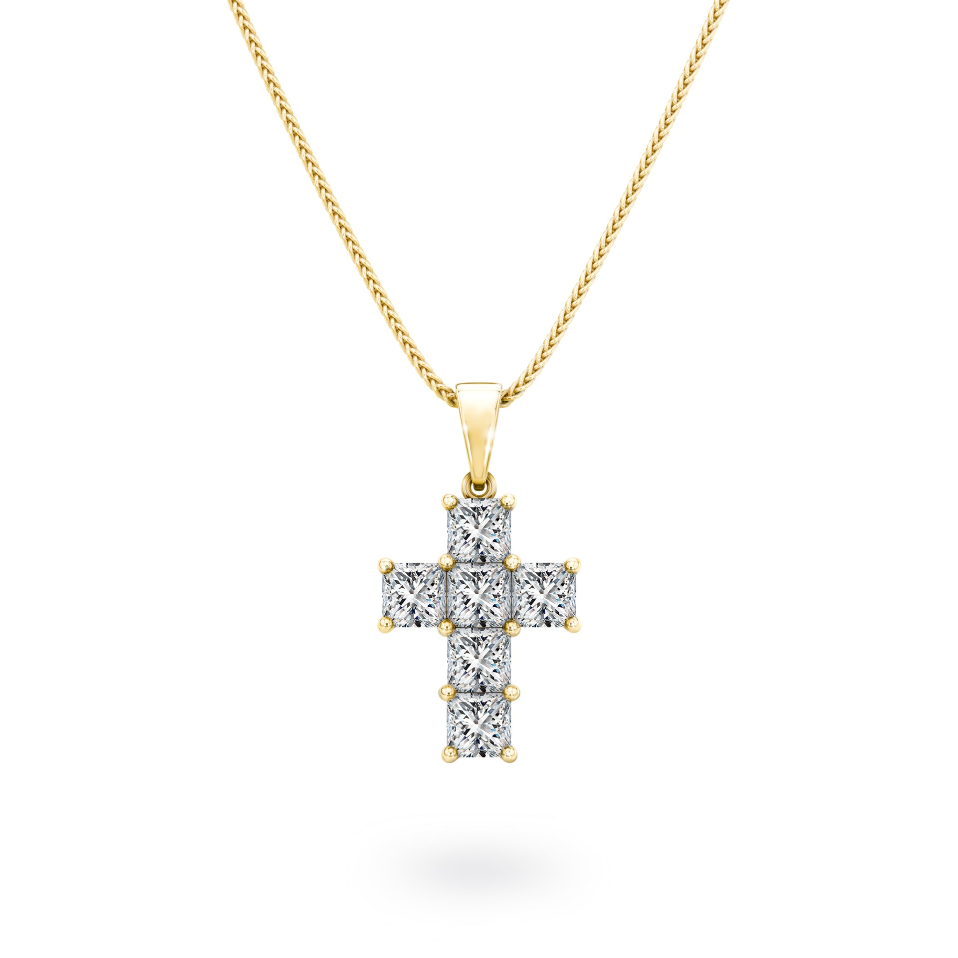 My Girl  Diamond Cross Pendant in 18K Yellow Gold Front View