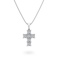 My Girl Diamond Cross Pendant in Platinum Front View