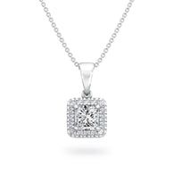 My Girl Halo Design Diamond Pendant in Platinum Front View