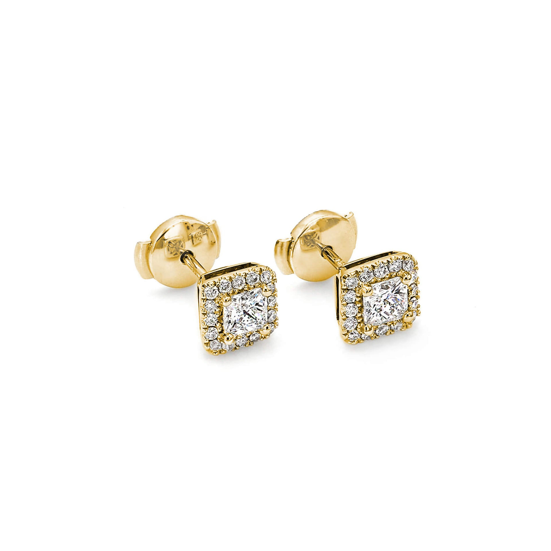 My Girl Halo Design Diamond Stud Earrings in 18K Yellow Gold 3D View