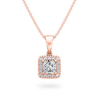 My Girl Halo Pendant in 18K Rose Gold Set With Diamonds Front View