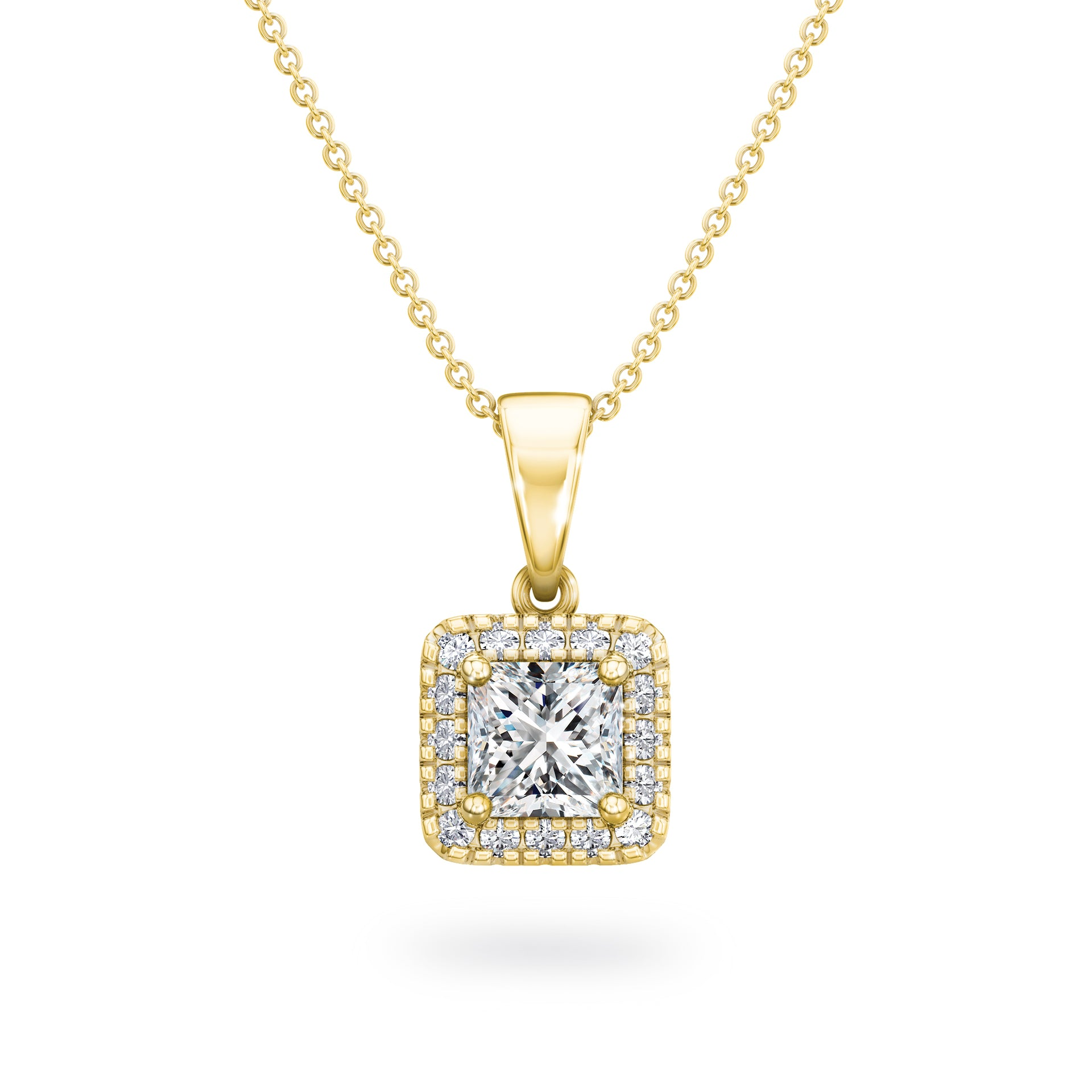 My Girl Halo Pendant in 18K Yellow Gold Set With Diamonds Front View