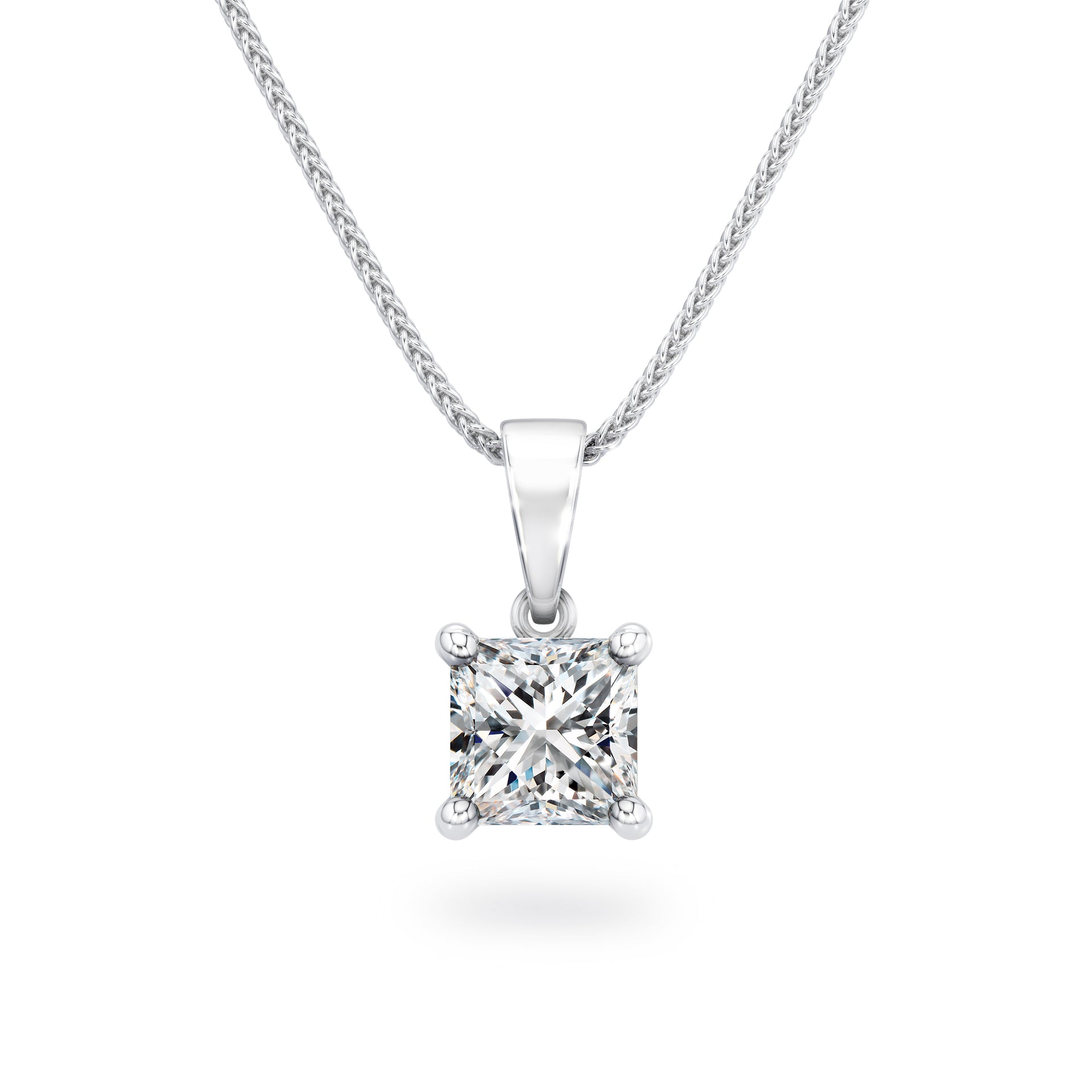 My Girl Solitaire Diamond Pendant in Platinum Front View'