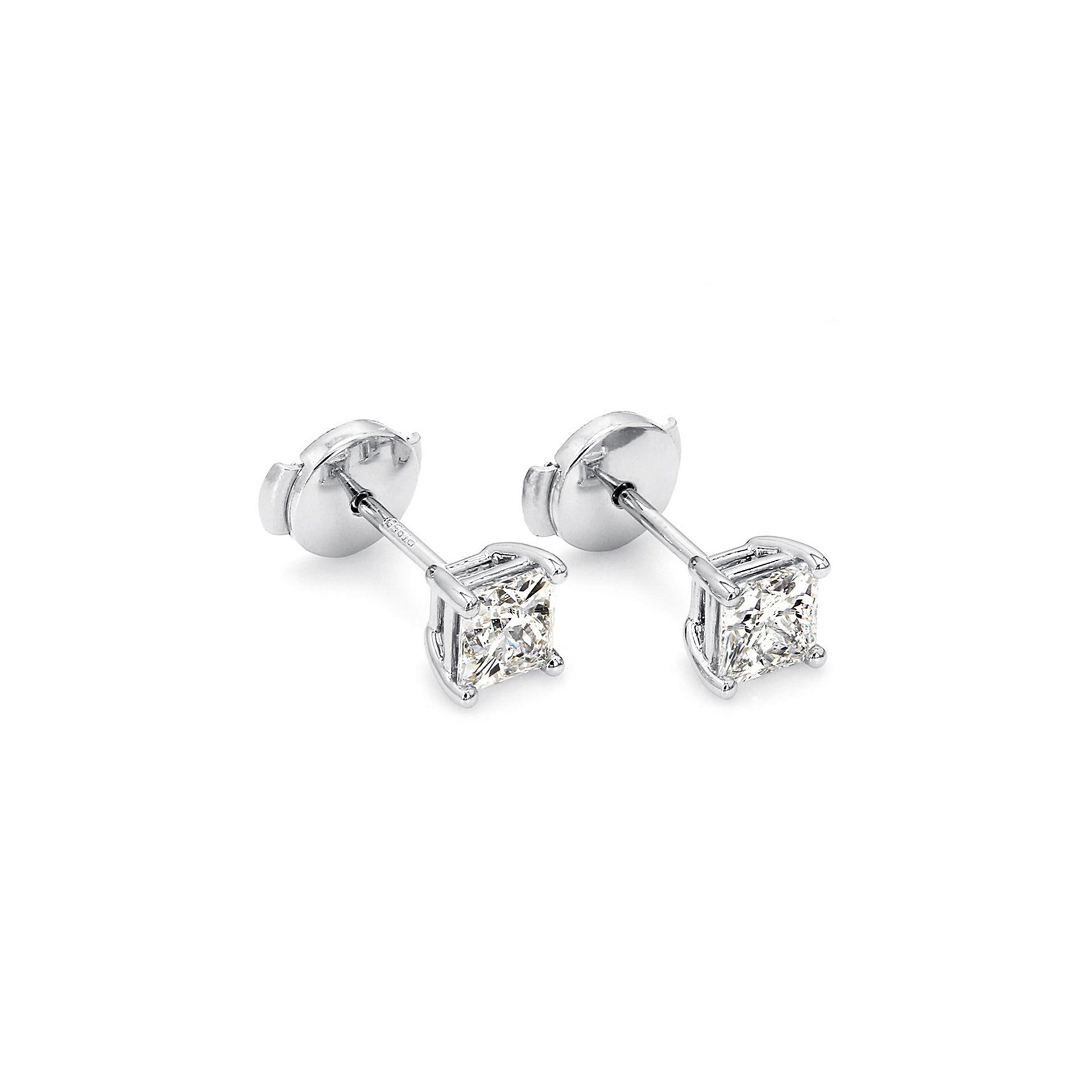 My Girl Solitaire Stud Earrings in Platinum 3D View