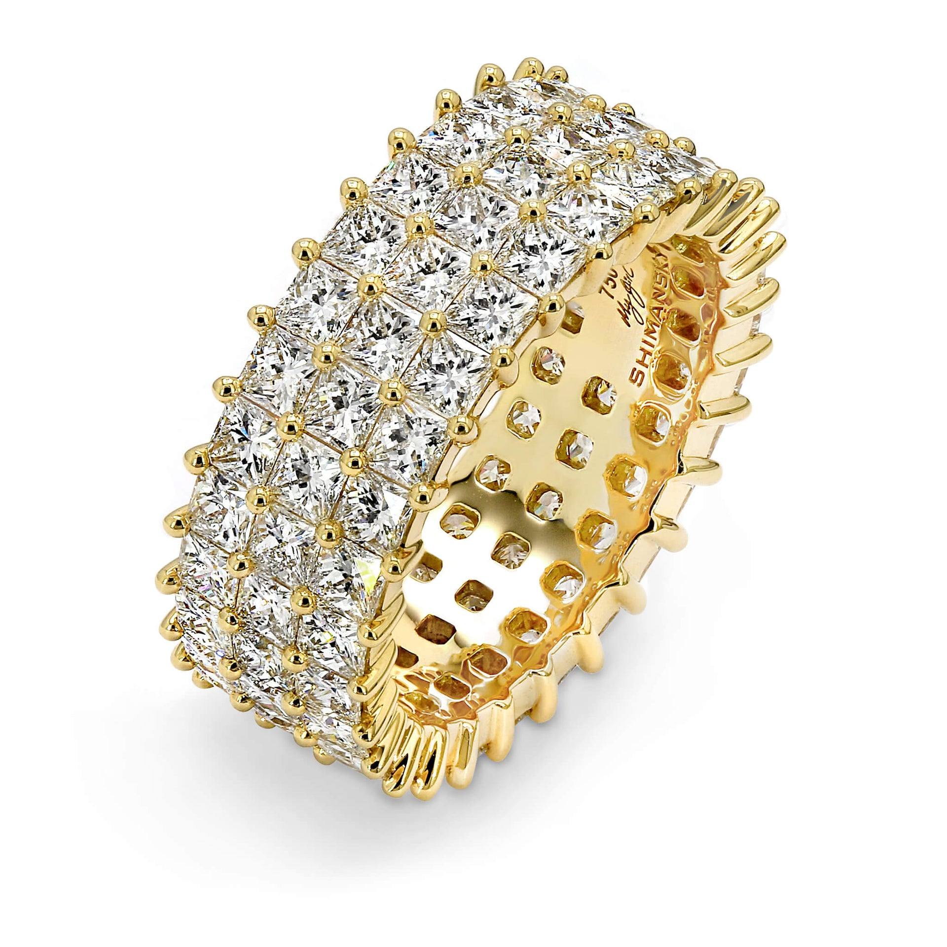 My Girl Triple Row Eternity Ring in 18K Yellow Gold Set With Diamonds 3D View
