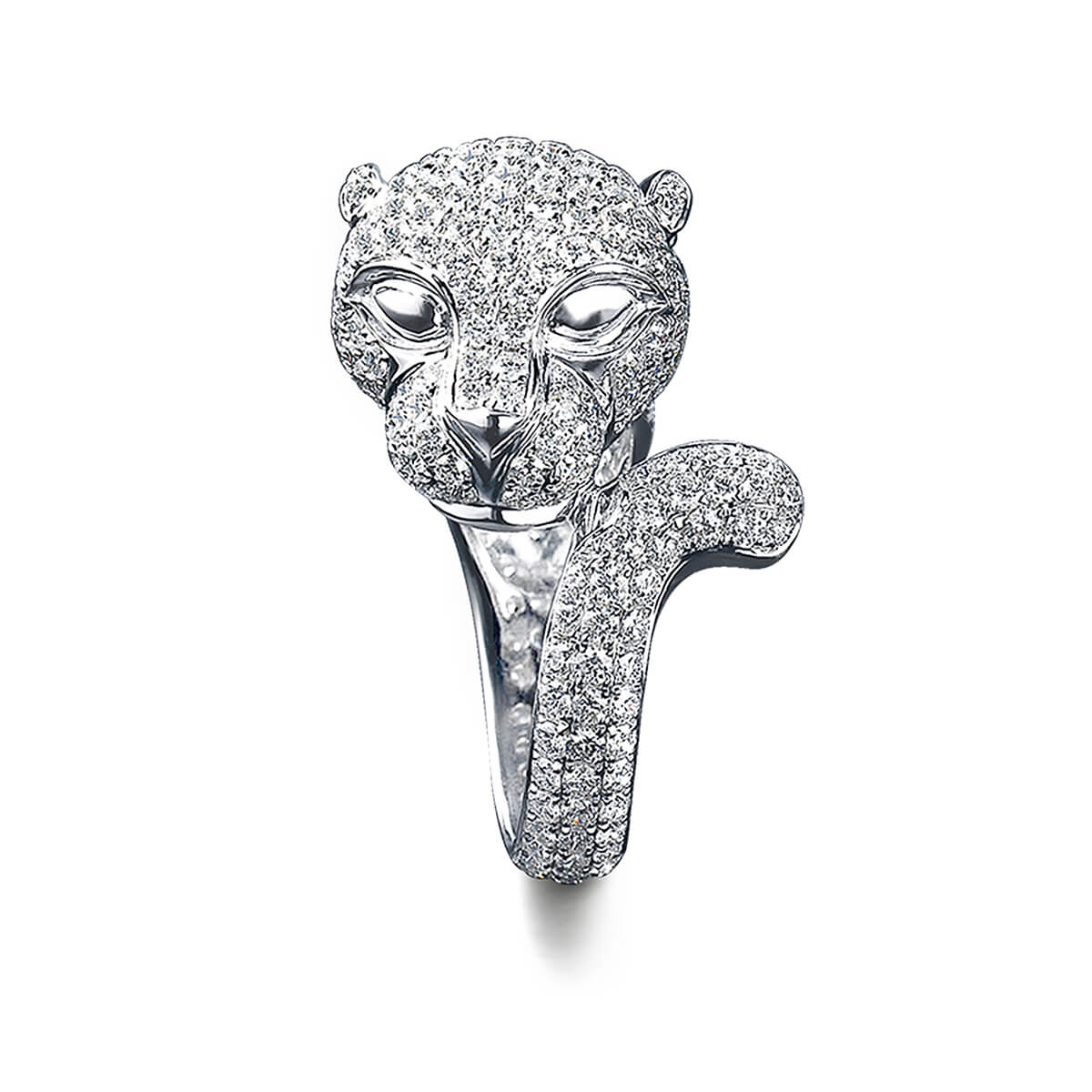 Panther Ring in 18K White Gold Set With Diamonds Front View