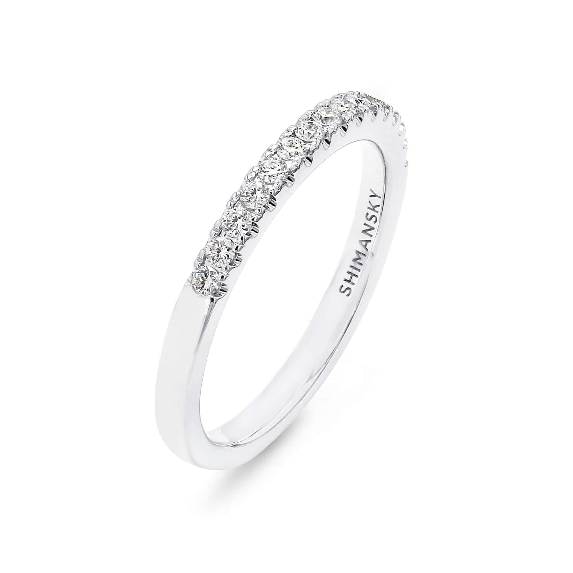 Round Brilliant Cut Micro Set Diamond Wedding Band in 18K White Gold 3D View