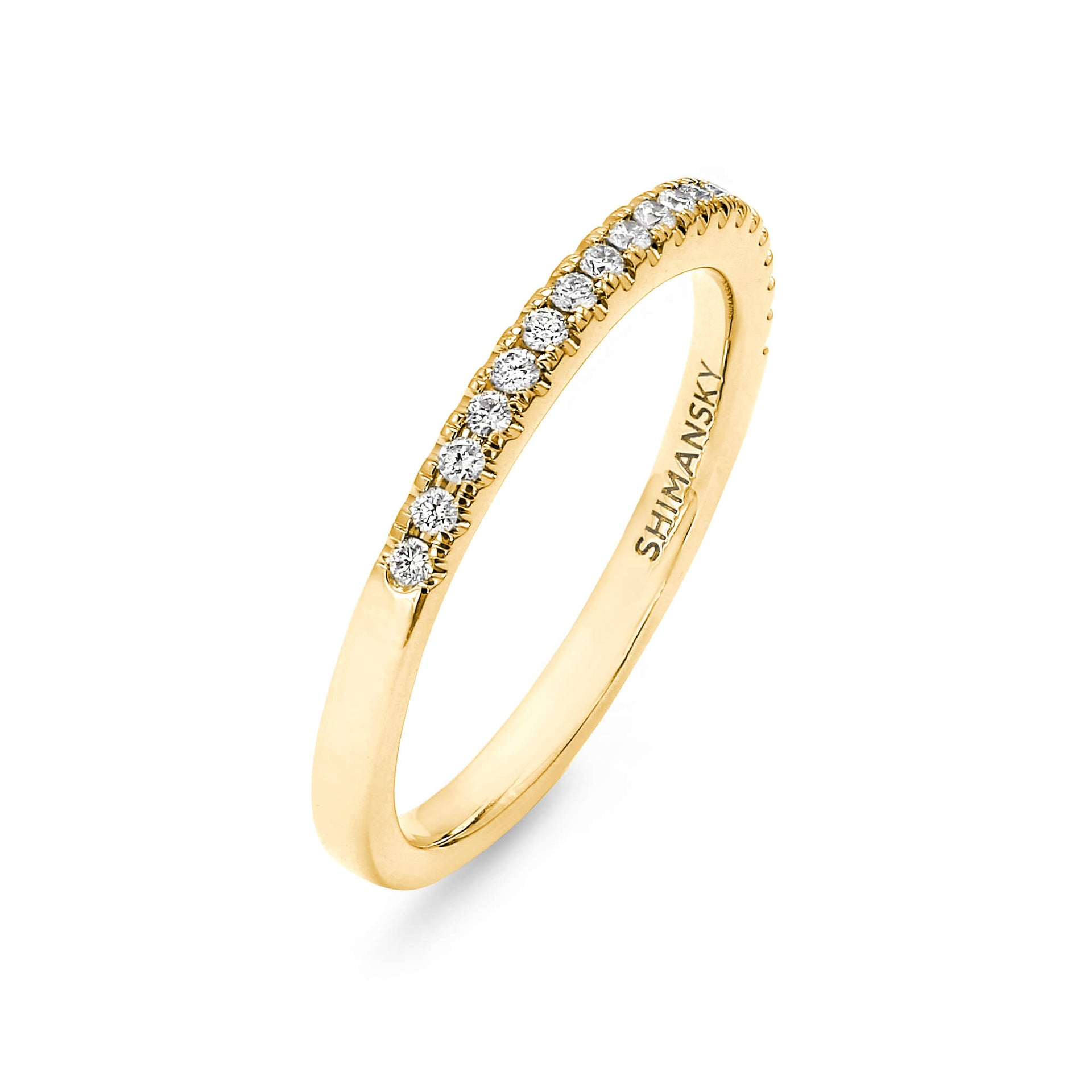Round Brilliant Cut Micro Set Diamond Wedding Band in 18K Yellow Gold 3D View