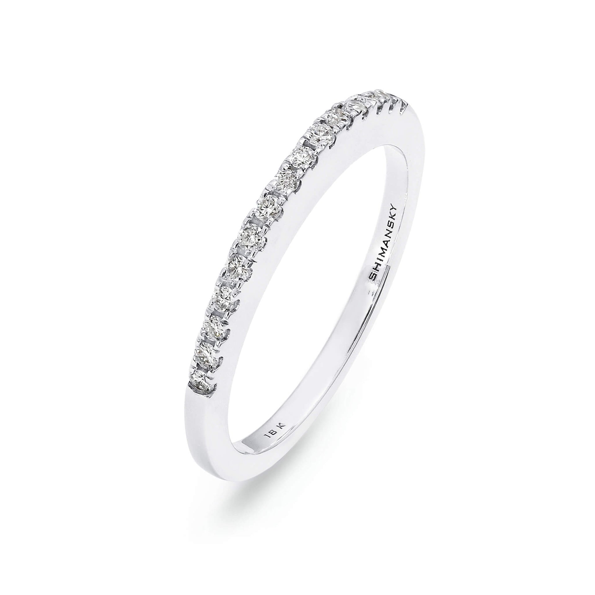 Round Brilliant Cut Millennium Diamond Wedding Band in 18K White Gold 3D View