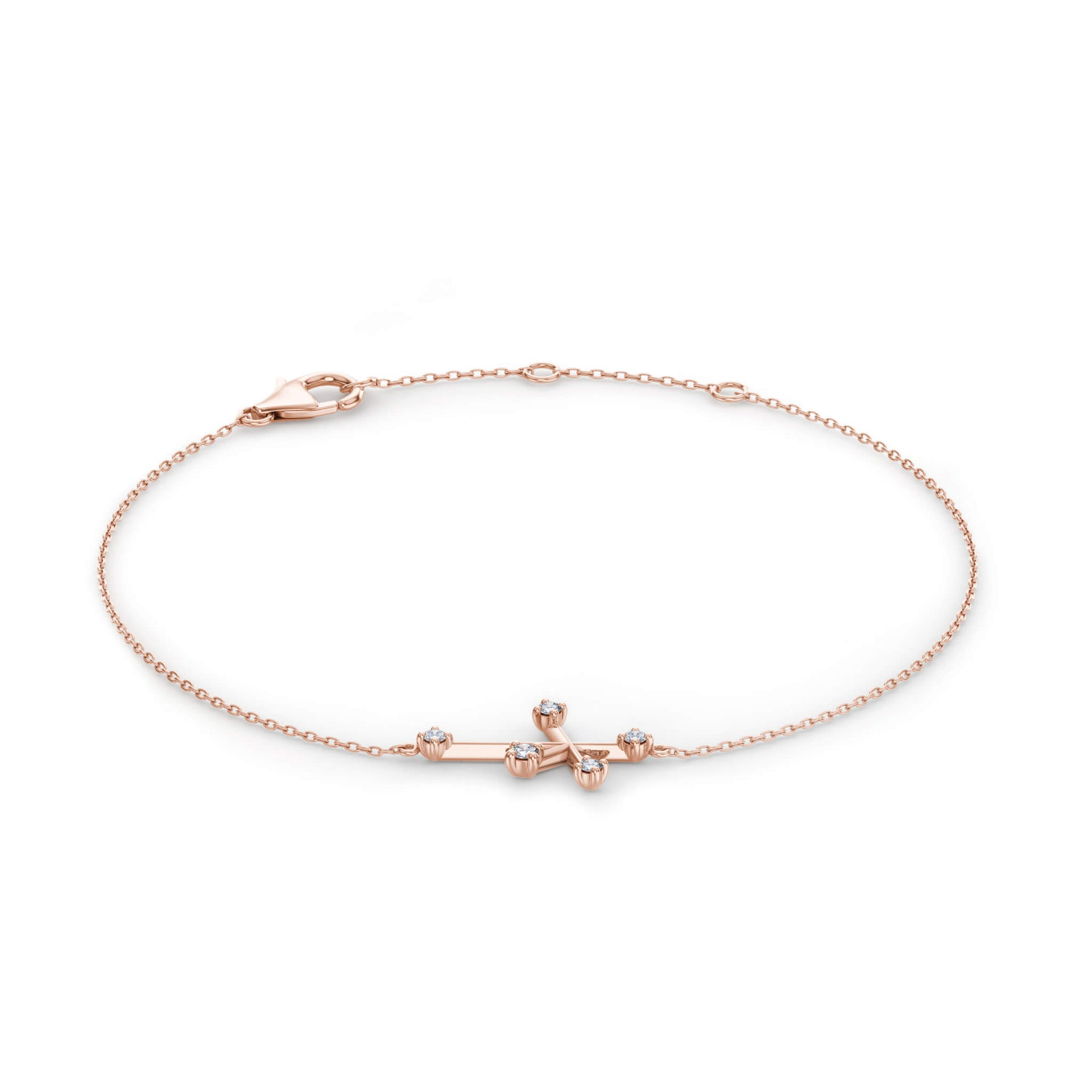 Southern Cross Diamond Bracelet in 14K Rose Gold 3D View