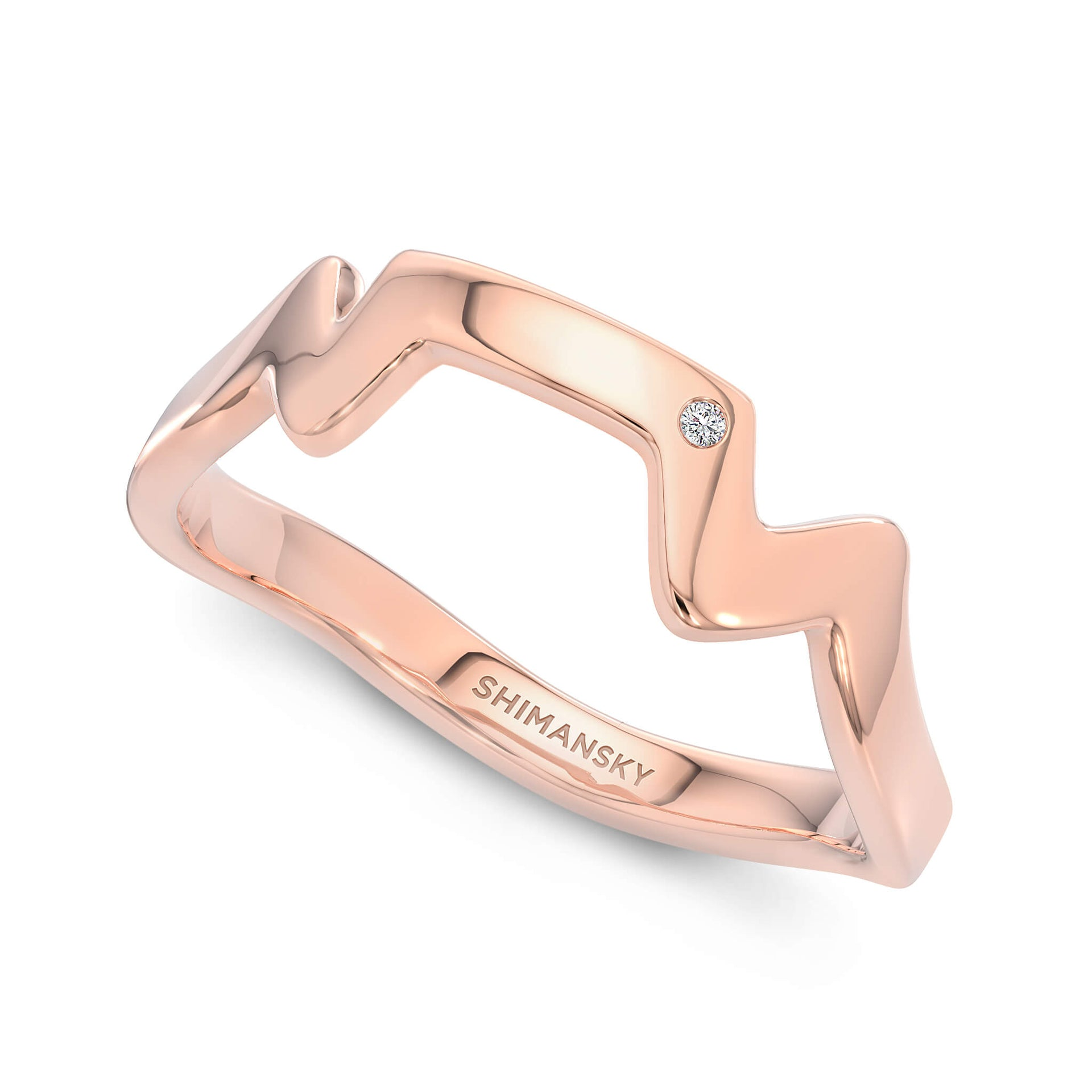 Table Mountain Ring with Single Diamond in 14K Rose Gold 3D View