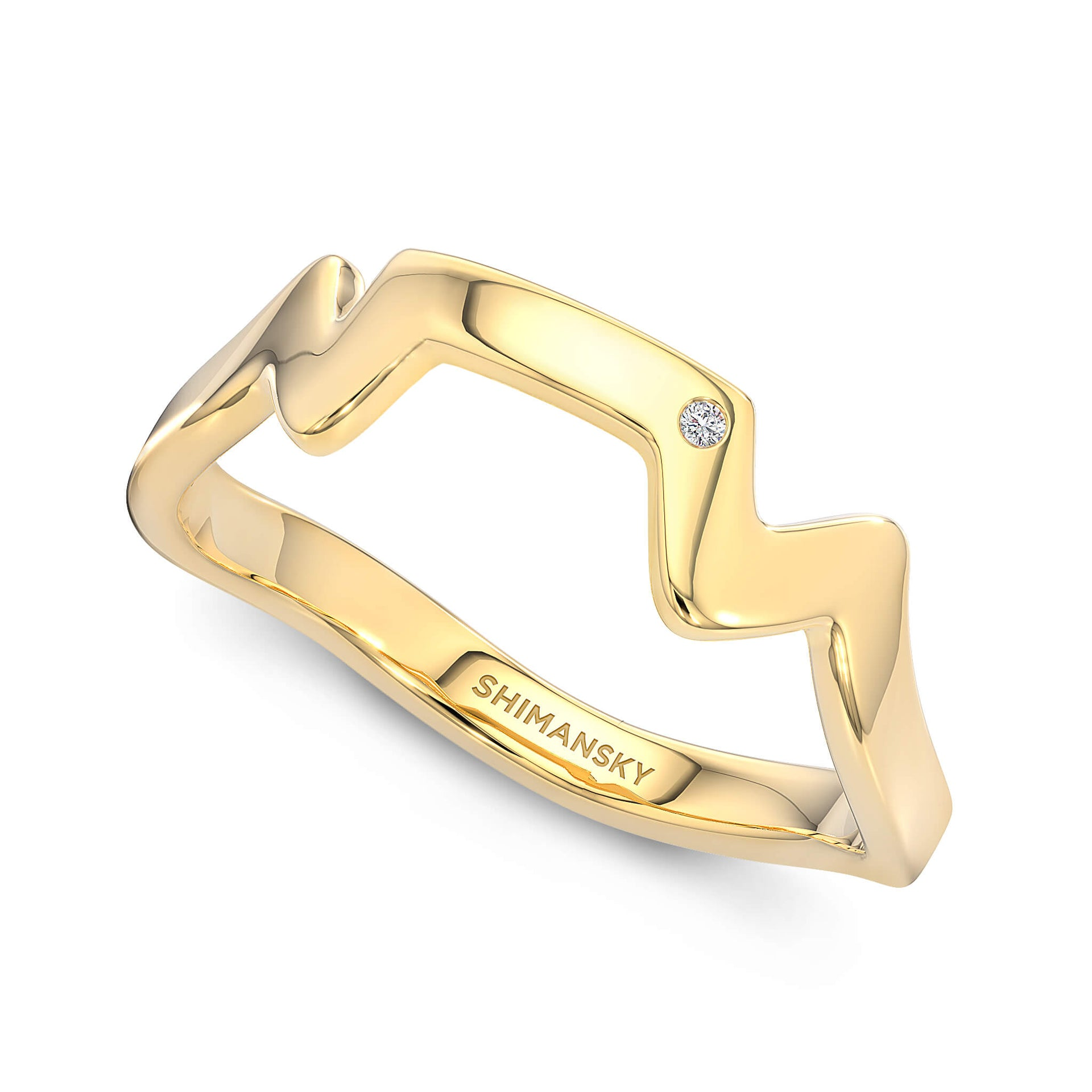 Table Mountain Ring with Single Diamond in 14K Yellow Gold 3D View