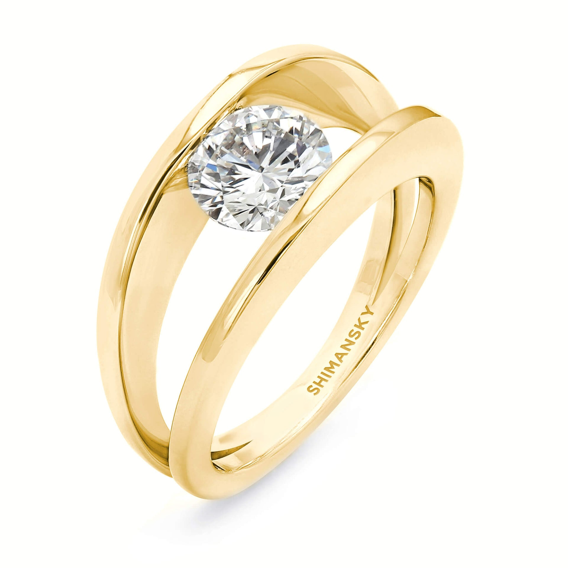 The Iconic 1ct Millennium Diamond Ring Crafted in 18K Yellow Gold 3D View
