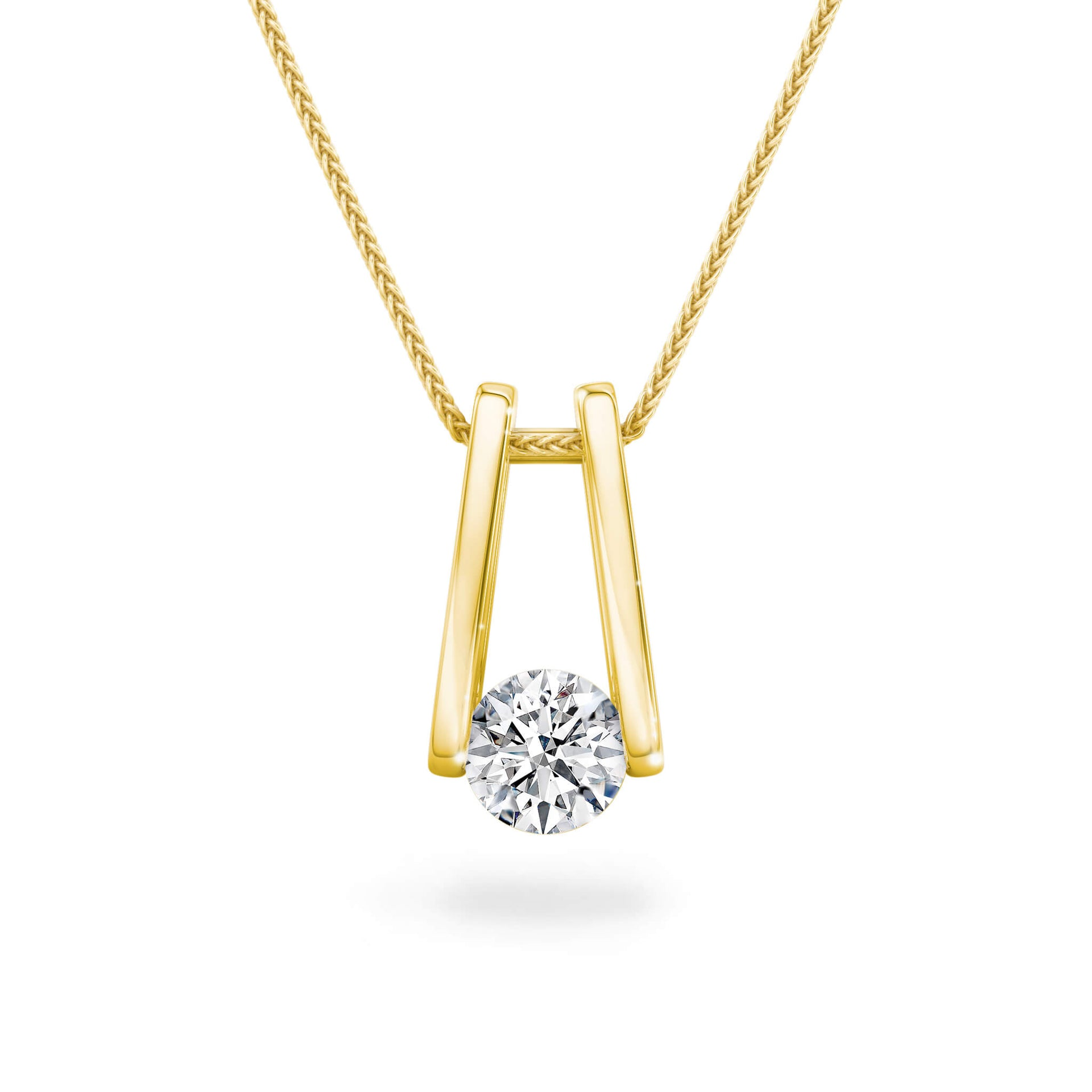 The Iconic Millennium Diamond Pendant in 18K Yellow Gold Front View