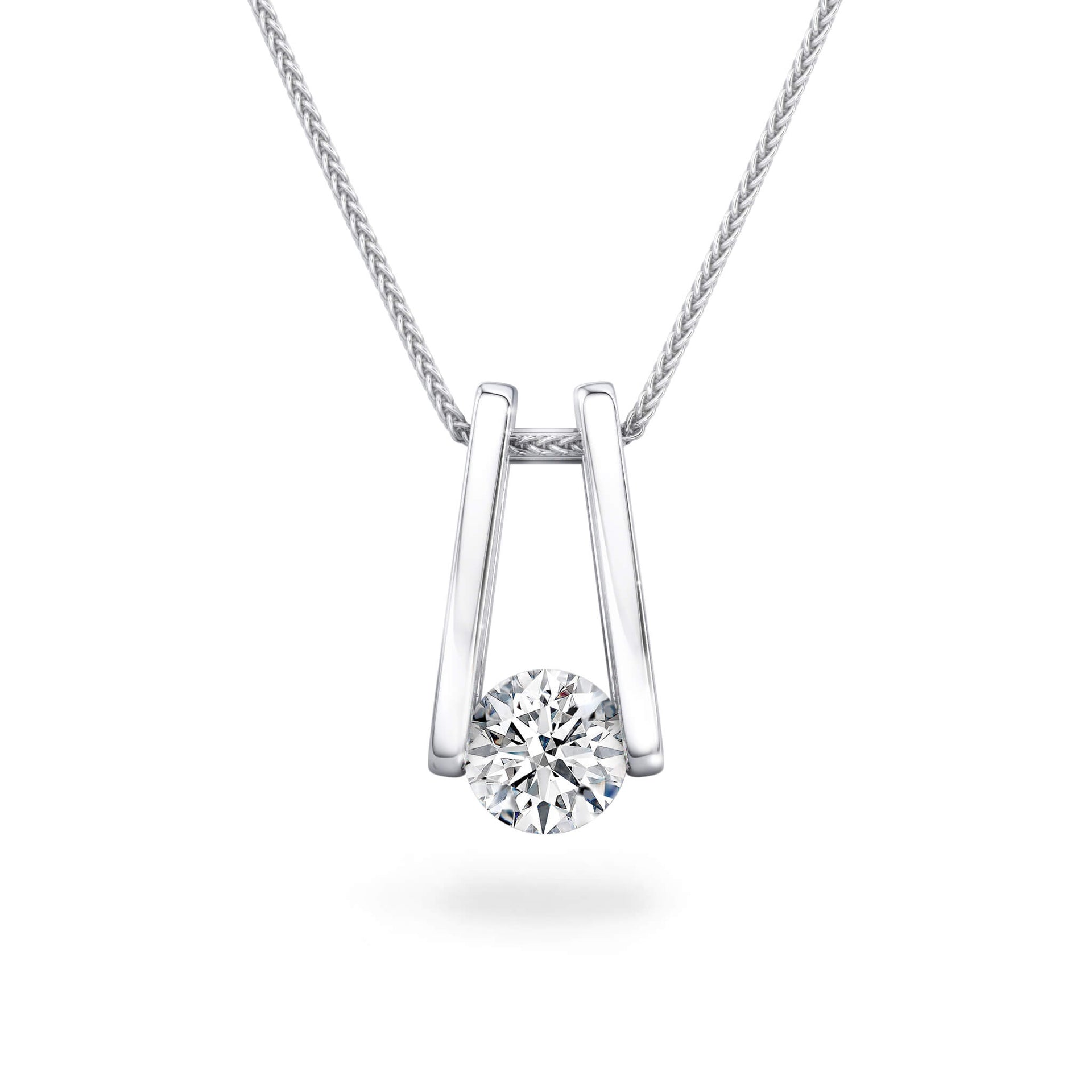 The Iconic Millennium Diamond Pendant in Platinum Front View