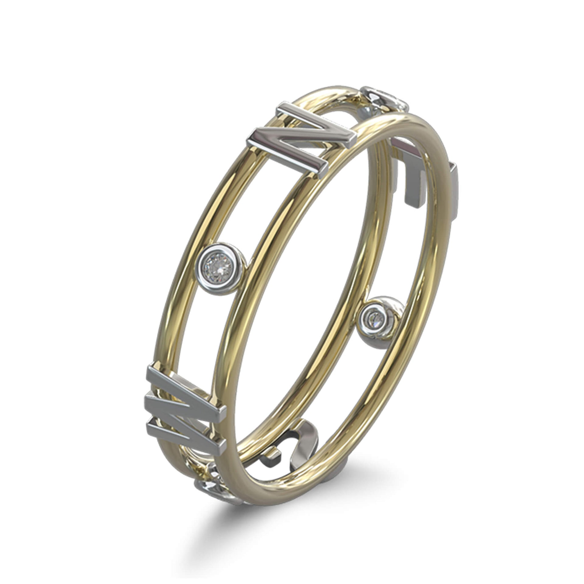 True North Light Ring in 18K Yellow Gold and 18K White Gold Set With Diamonds 3D View
