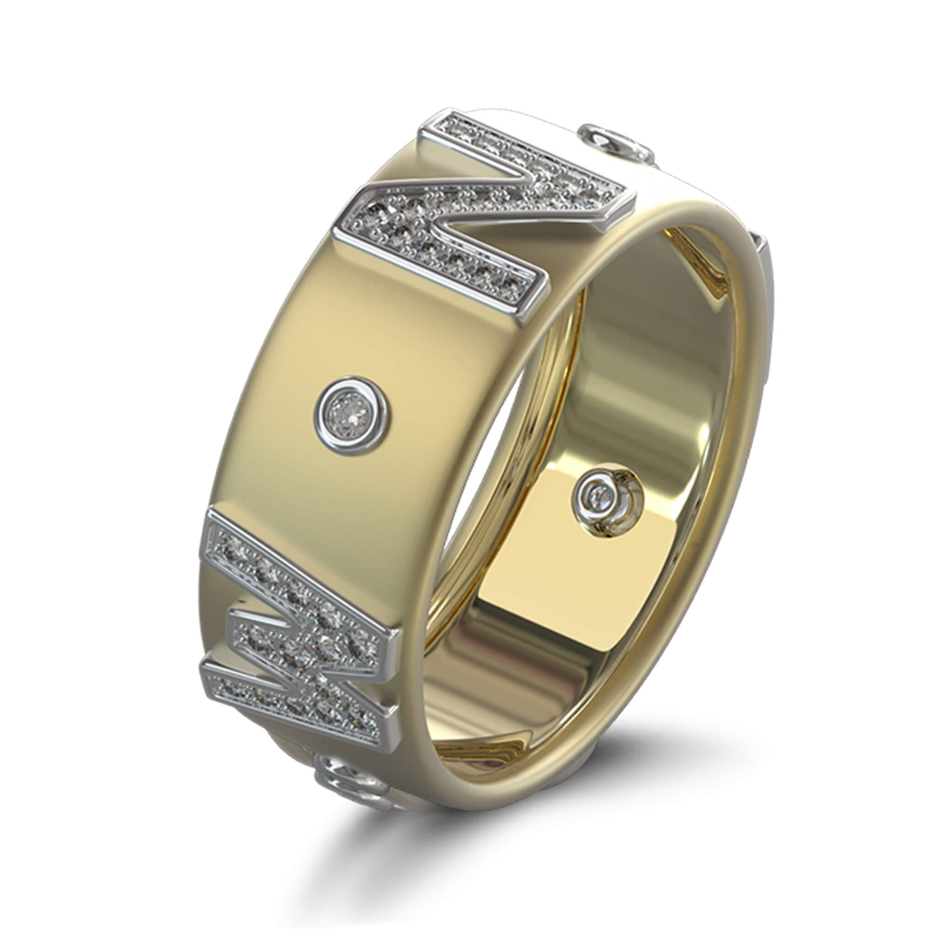 True North Pave Diamond Ring in 18K Yellow and White Gold 3D View