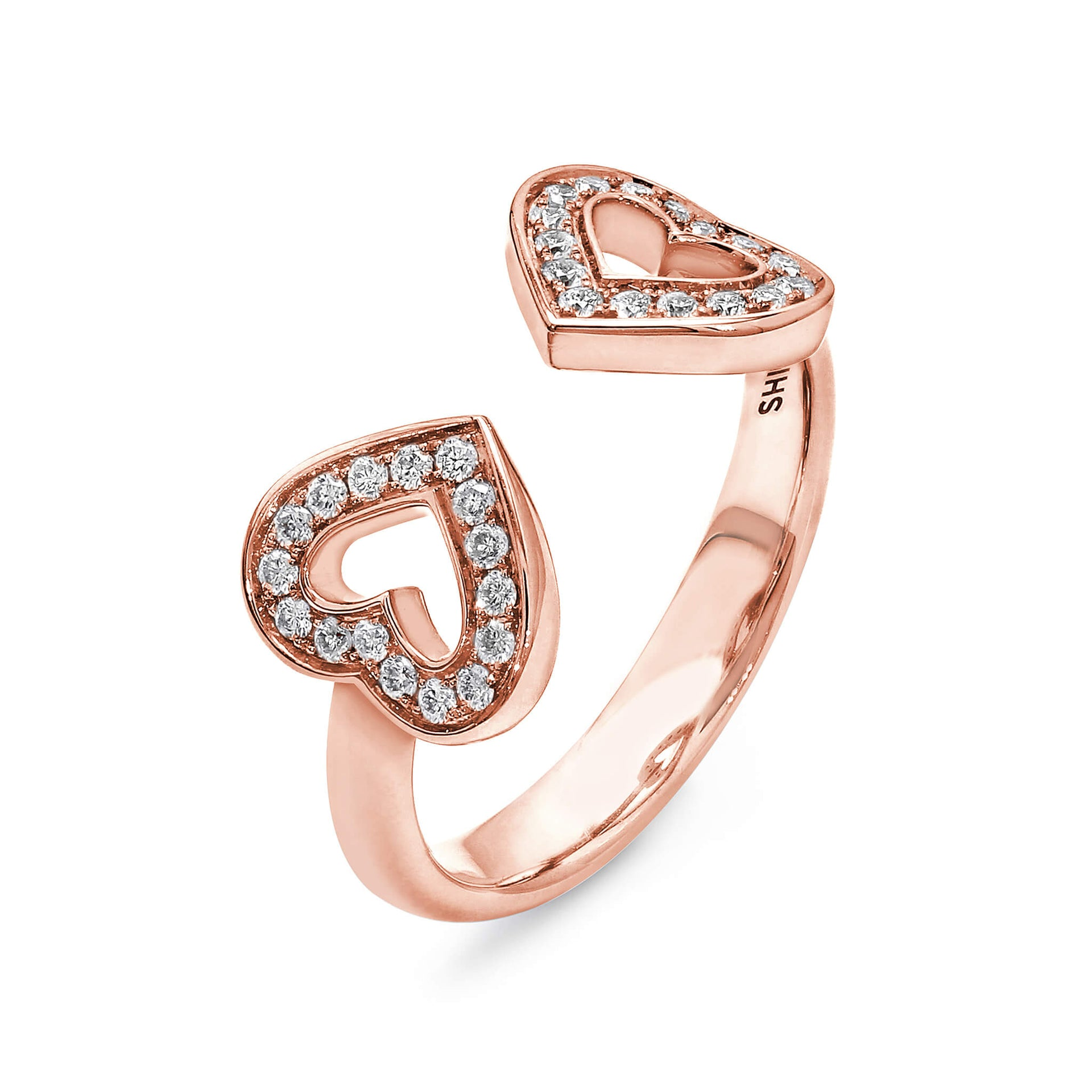 Two Hearts Diamond Ring In 18K Rose Gold 3D View