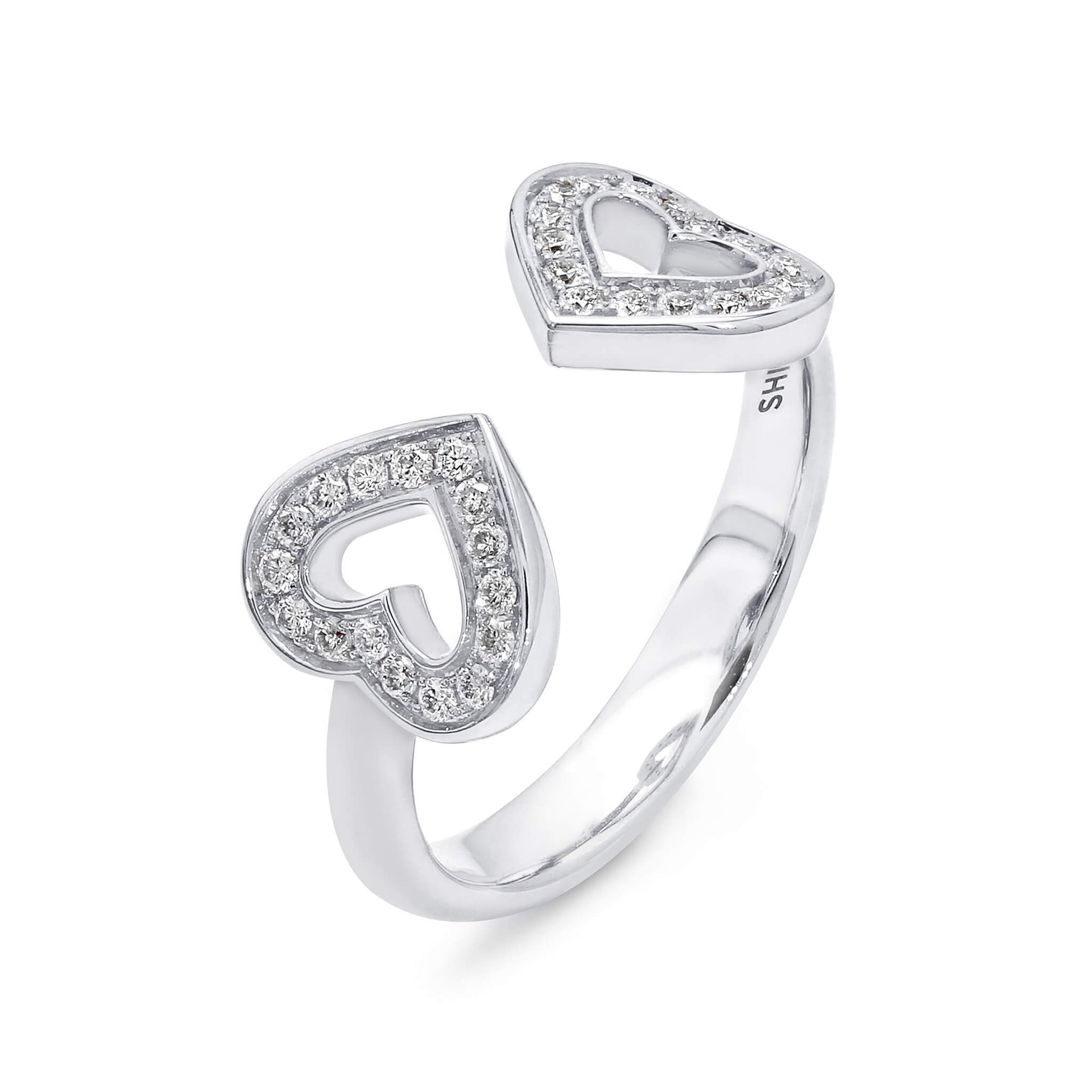 Two Hearts Diamond Ring in 18K White Gold 3D View