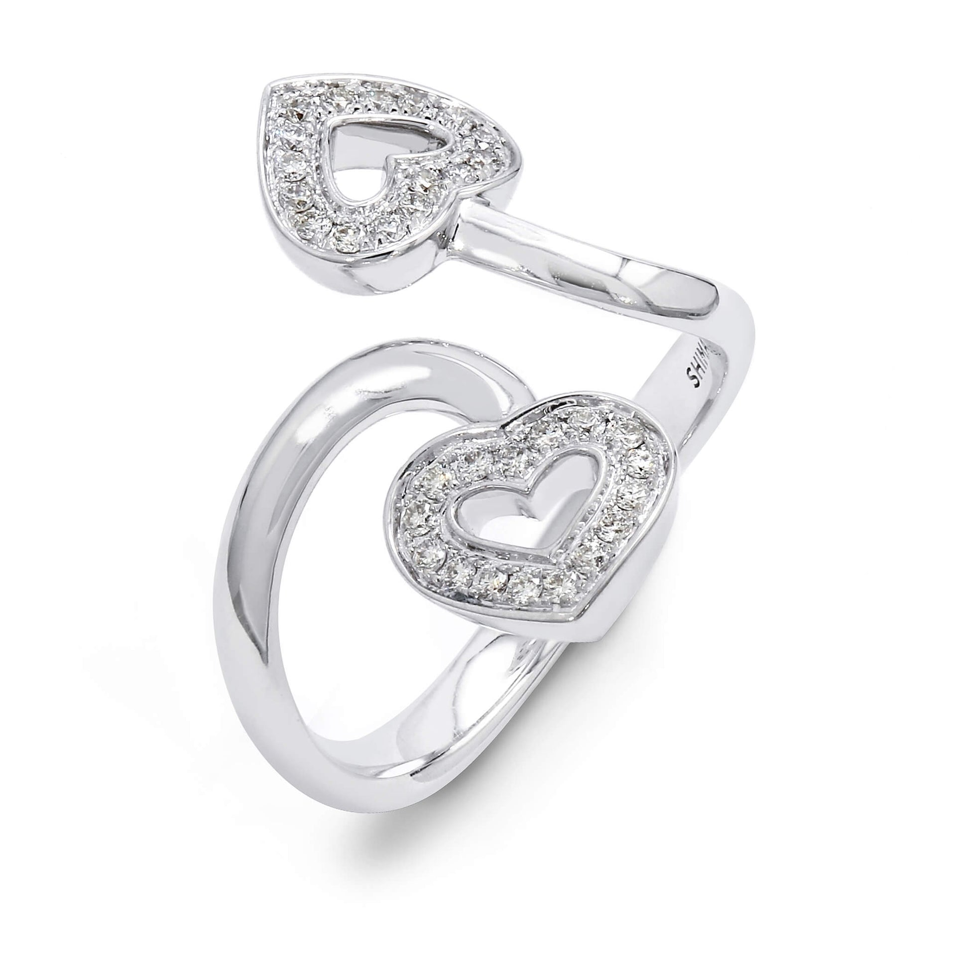 Two Hearts Twisted Diamond Ring in 18K White Gold 3D View