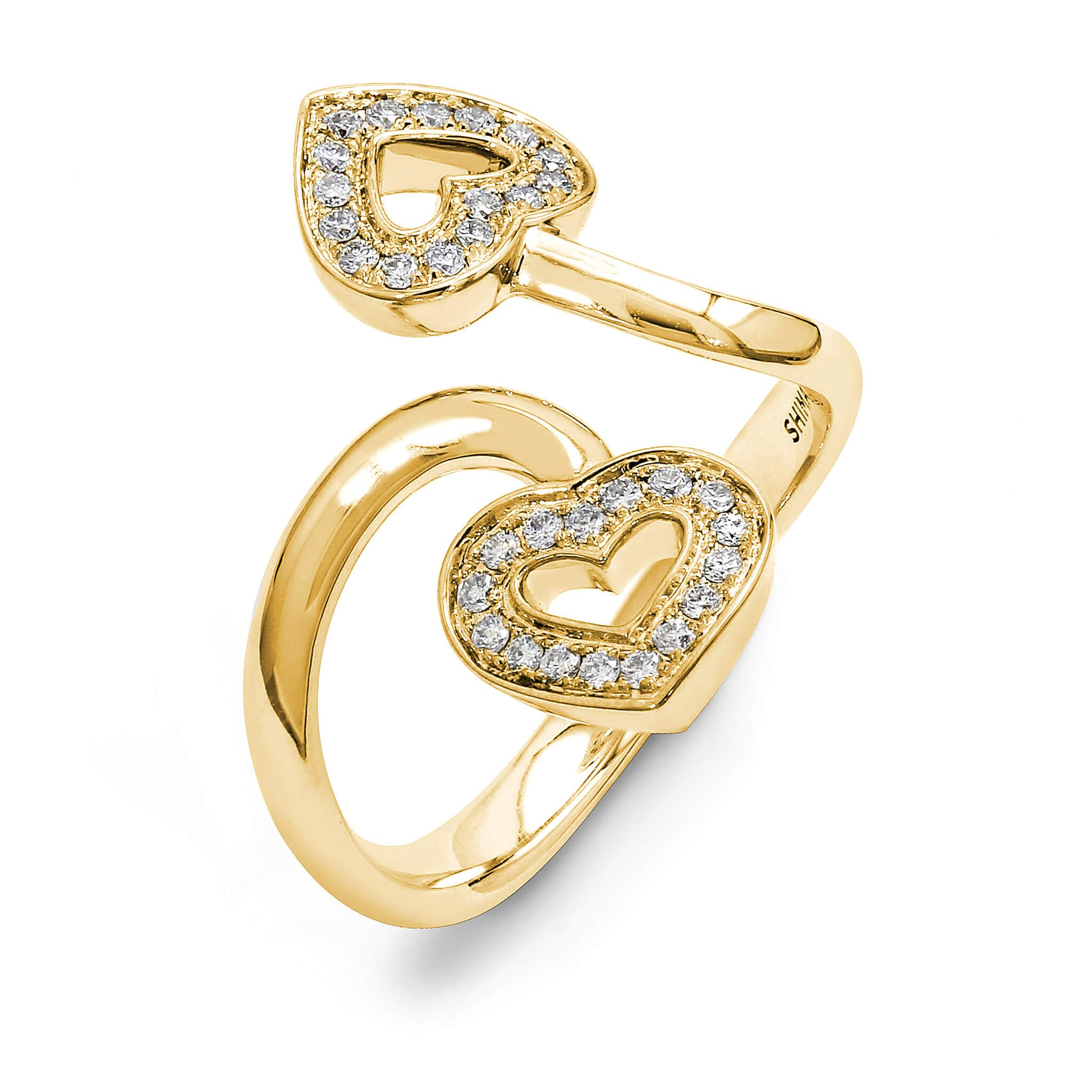 Two Hearts Twisted Diamond Ring in 18K Yellow Gold 3D View