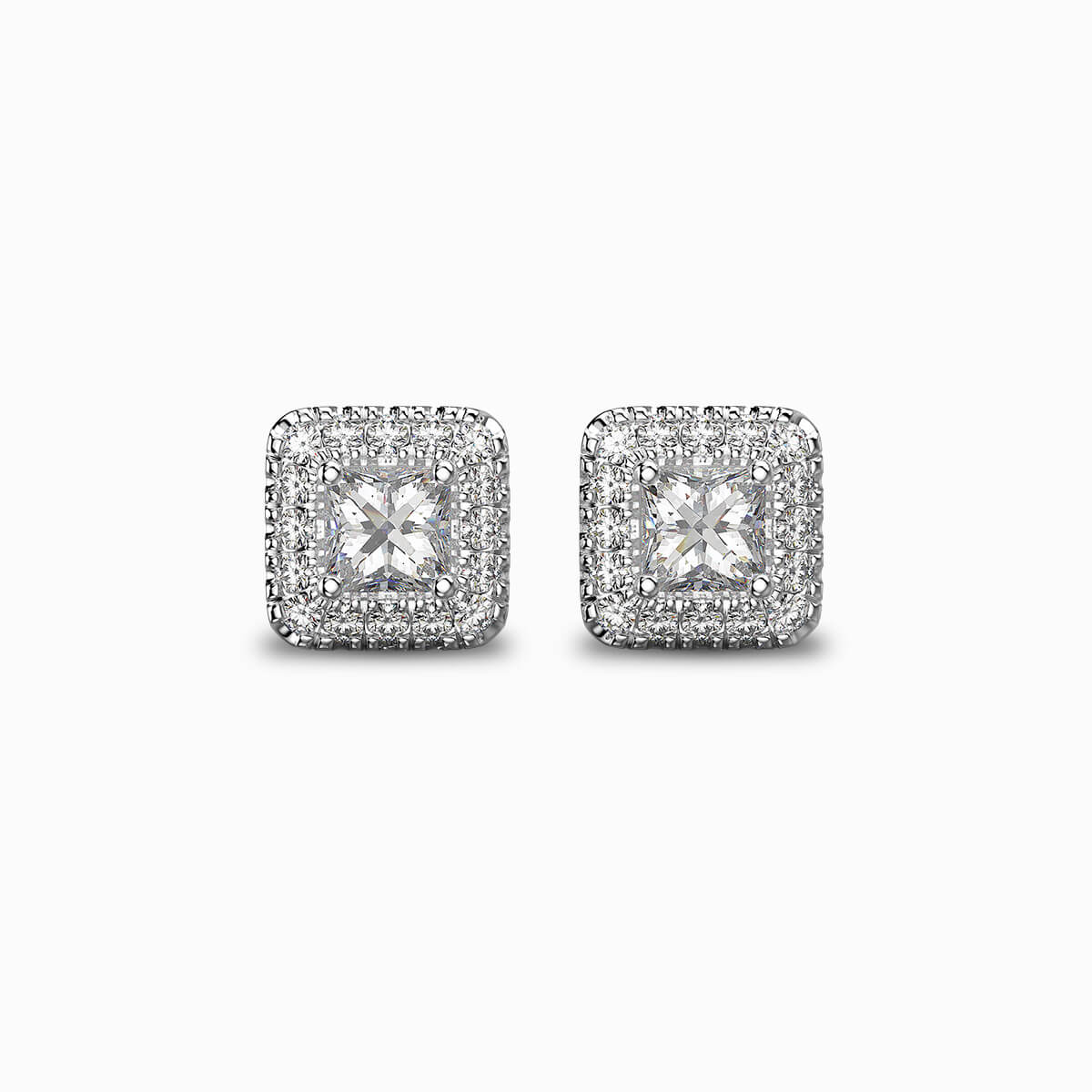My Girl Halo Earrings in Platinum Set With Diamonds