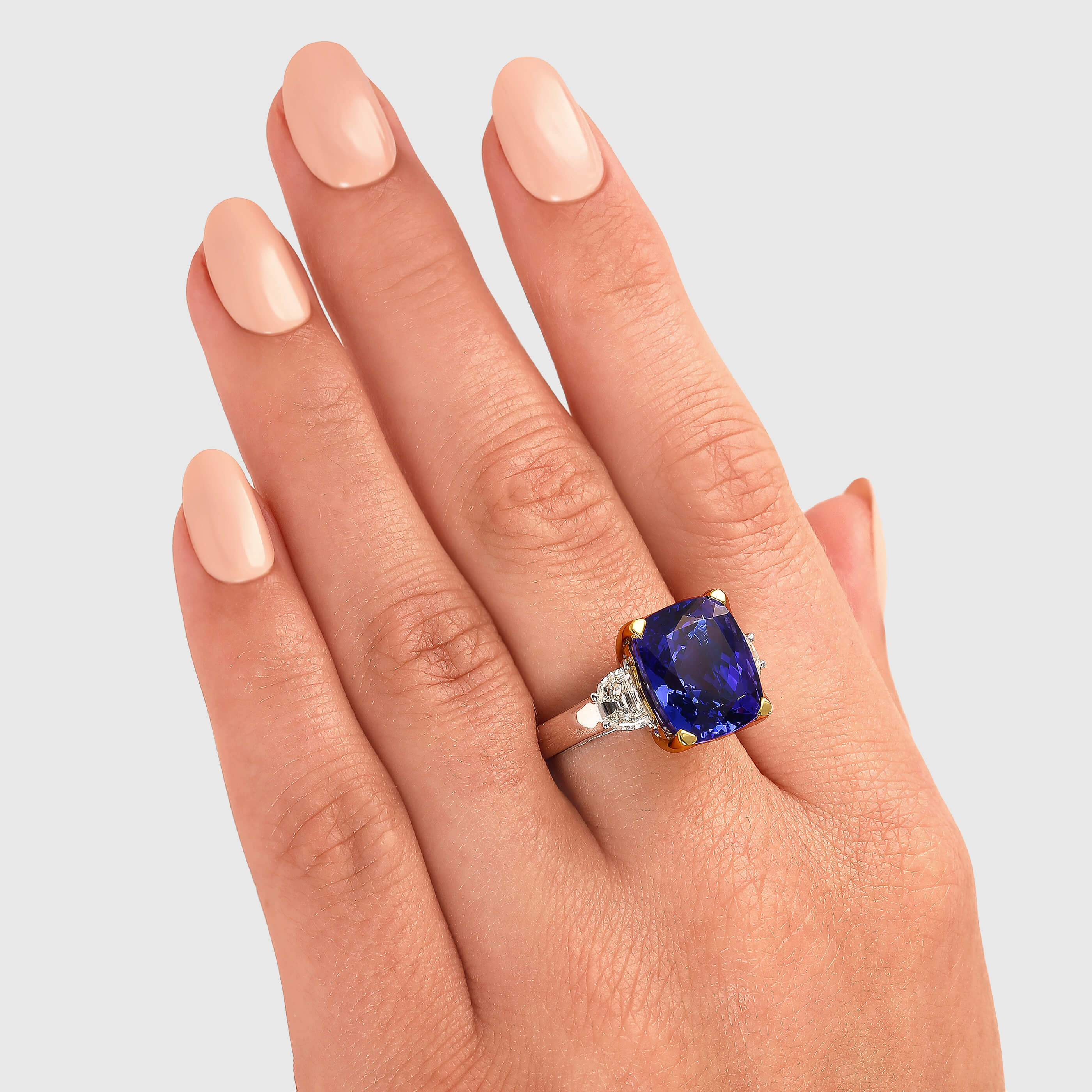 Cushion Tanzanite and White Topaz Ring Mid-Century Style Sterling Silver 0.85 ct
