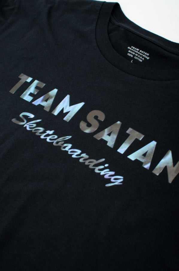 TEAM SATAN666 back 666 printed T-shirt cotton black x blue frame black short sleeve T-shirt