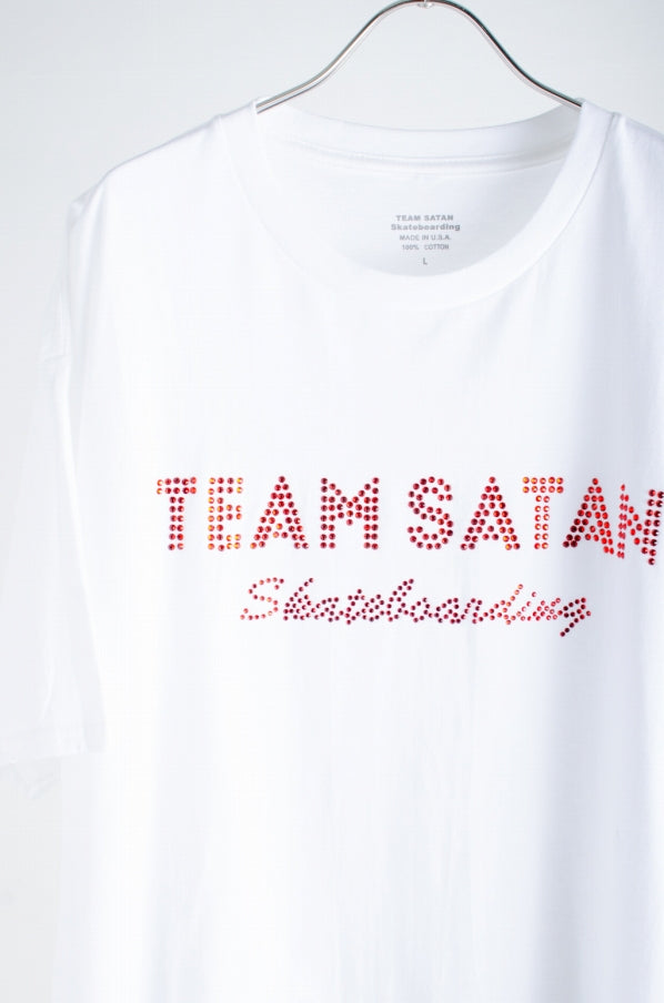 TEAM SATAN666 Di Luco near Stone after 666 TEE Cotton White x Red White Short sleeve T-shirt