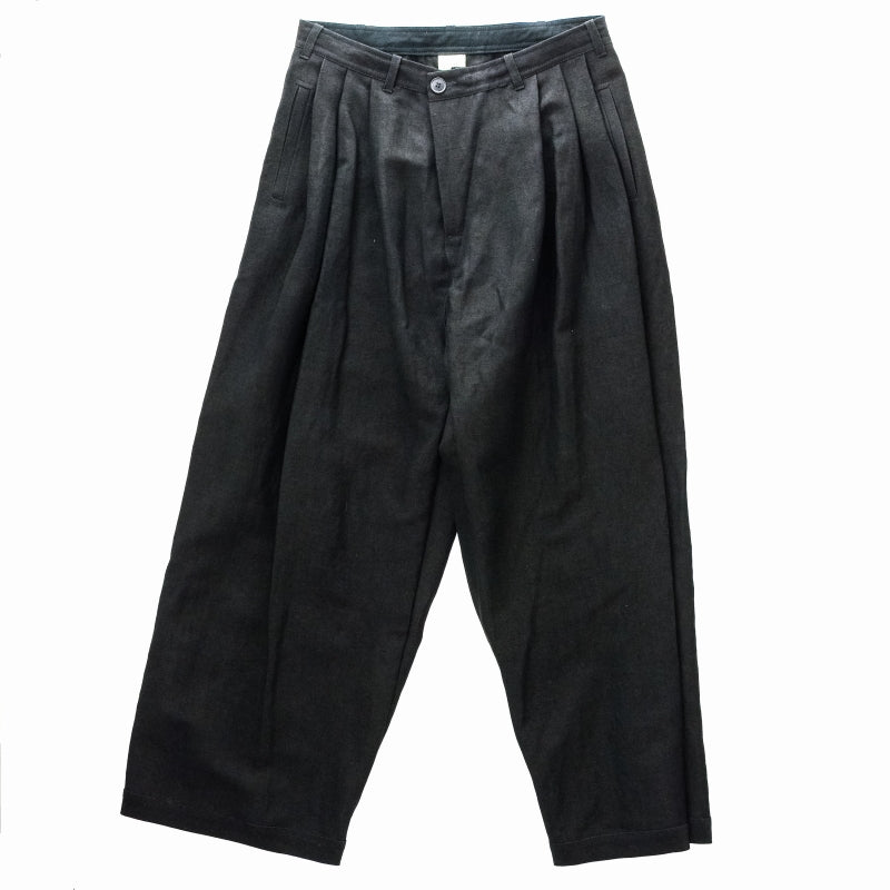 JAN-JAN VAN ESSCHE 19AW TROUSERS#54 PLETED TROUSERS ウール BLACK  黒 パンツ [京都]