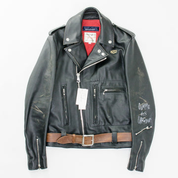 COMME des GARCONSxLewis Leathers 青山限定ブロンクス レザーライダースジャケット レザー 36 ブラック  黒 ライダースジャケット