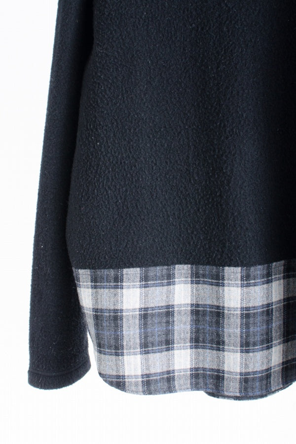 COMME des GARCONS HOMME 18AW チェック切替デザインフリーストップス ウール S  黒 長袖Tシャツ [通販限定]