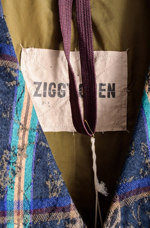 Ziggy Chen 18AW Full Pattern Vest Linen 44 Blue x Green x Beige Best