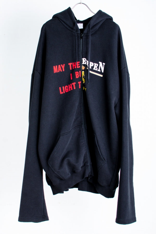 VETEMENTS 17AW May The/Antwerp 再構築ジップアップパーカー L  黒 パーカー [堀江]