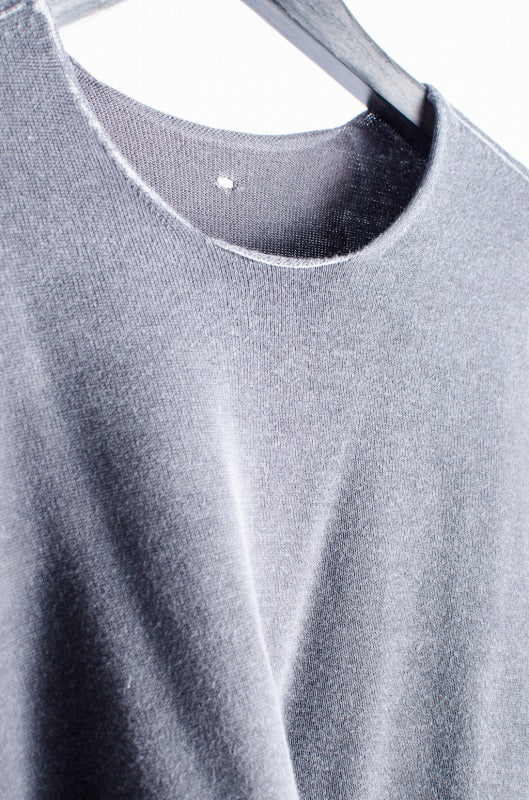 LABELUNDER CONSTRUCTION cold die reversible cut cotton 48 light gray gray long sleeve T-shirt