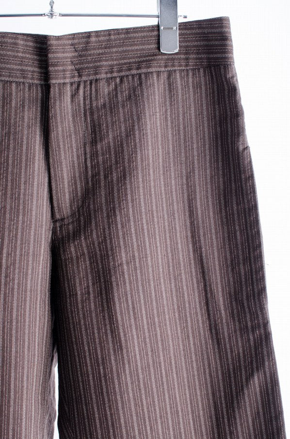 Maison Martin Margiela Artisanal Wool Stripe Slacks Wool 44 Brown / Stripe Brown Pants