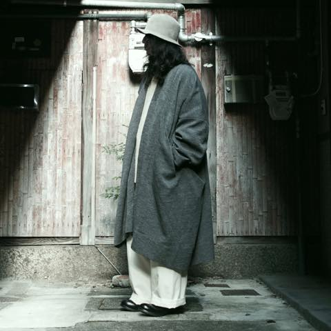 JAN-JAN VAN ESSCHE 19 COAT#20 OVERSIZED FIT COAT ウール GREY MELE WOOL  灰色 ステンカラーコート [京都]