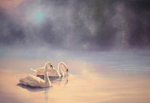 """Blue Moon"" - Swan Painting by JM Brodrick"