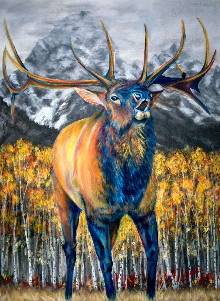 Elk painting autumn calls by teshia for sale the grand fine art - Chp call log paint ...
