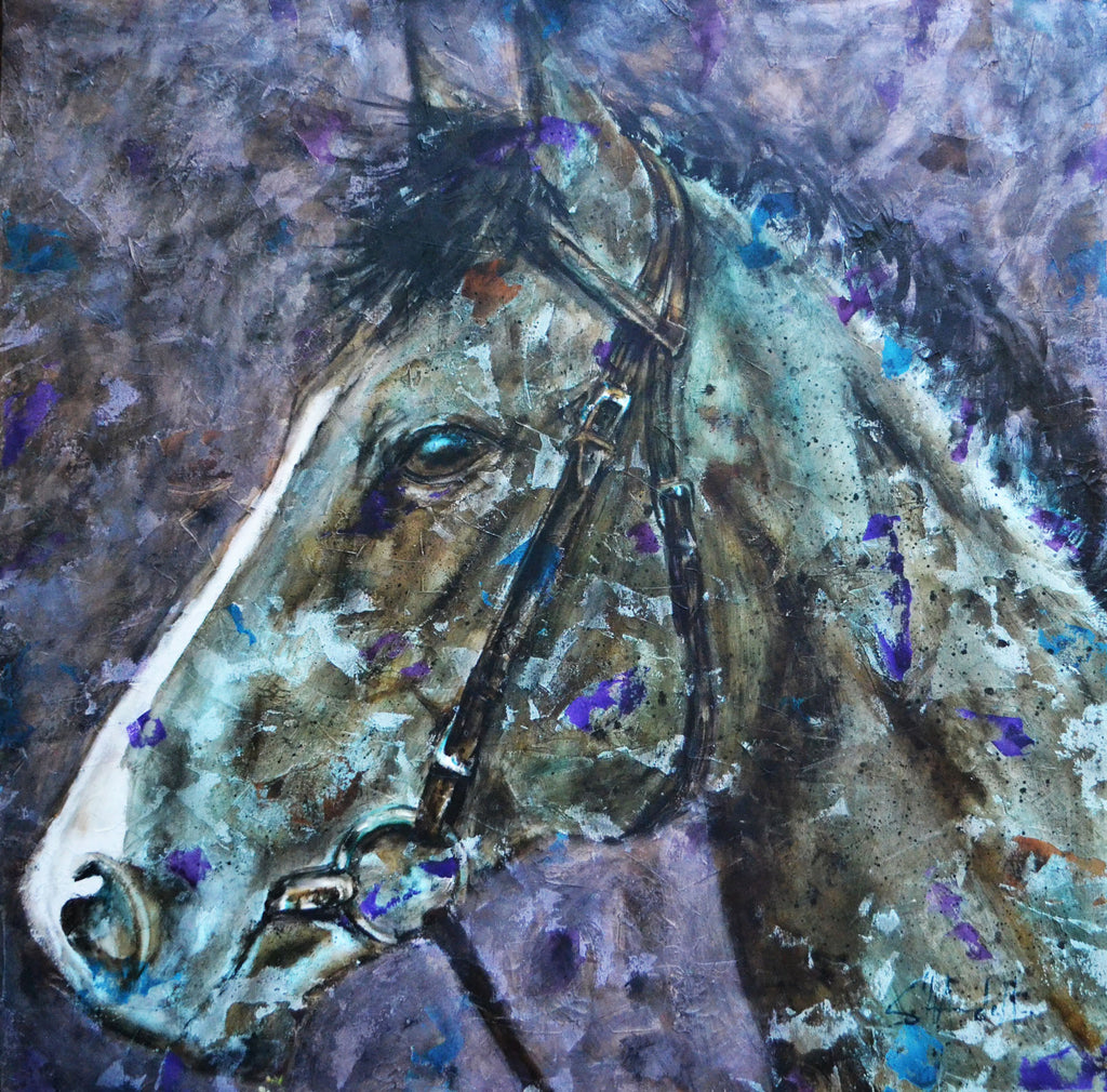 """Silvering"" - Contemporary Horse Painting by Shawndell Oliver"