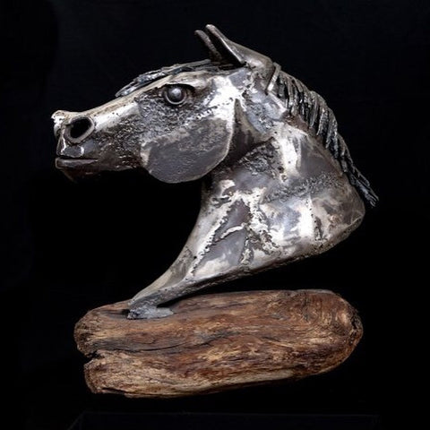 """Strength"" - Steel Horse Head Sculpture by Tolley Marney"