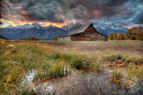 """Teton Nightfire"" Gallery Metal Float photograph of Moulton Barn by Ryan Smith"