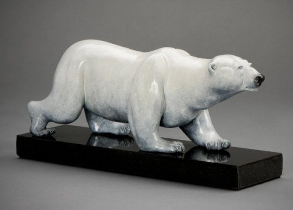 Bronze polar bear sculpture at Grand Teton Gallery