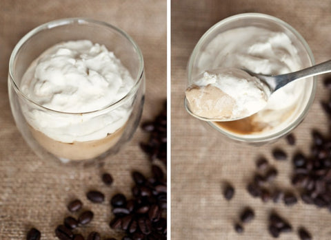 Coffee pudding, coffee dessert, cream and coffee