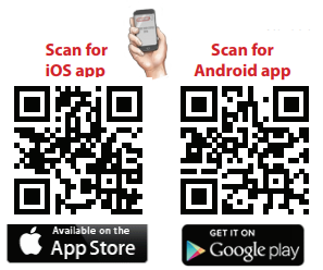 Aladdin Connect scan codes for google play and the app store