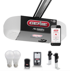 Genie Chain Glide Connect Essentials Smart garage door opener with LED bulbs included